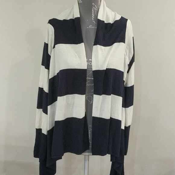 H&M Navy and white striped wrap cardigan